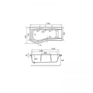 Carron Sigma 1800 x 900mm Offset Showerbath – 5mm Acrylic