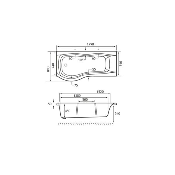 Carron Sigma 1800mm Offset Showerbath - 5mm Acrylic
