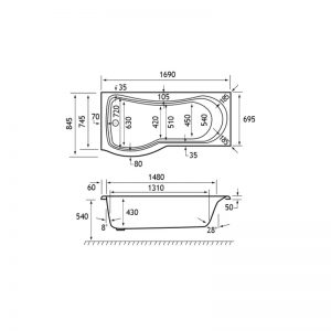 Carron Arc 1700 x 700-850mm Showerbath Carronite