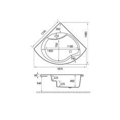Carron Tranquility 1300 x 1300 x 450mm Corner Bath Acrylic