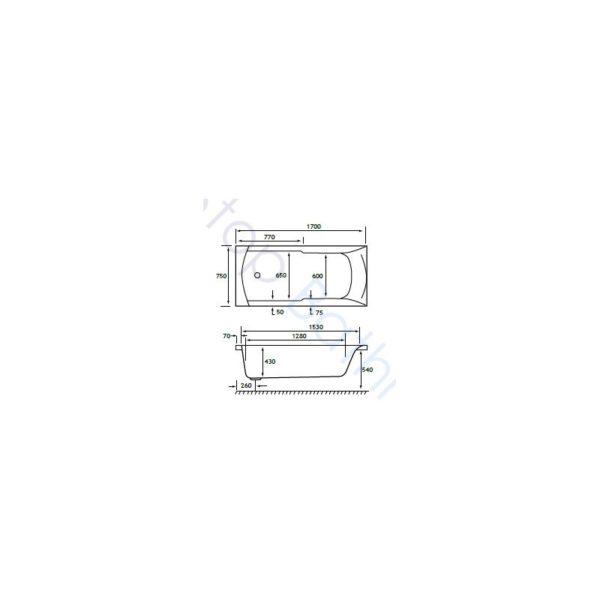 Carron Index/Classic Showerbath 1700 x 750mm - 5mm Acrylic Bath