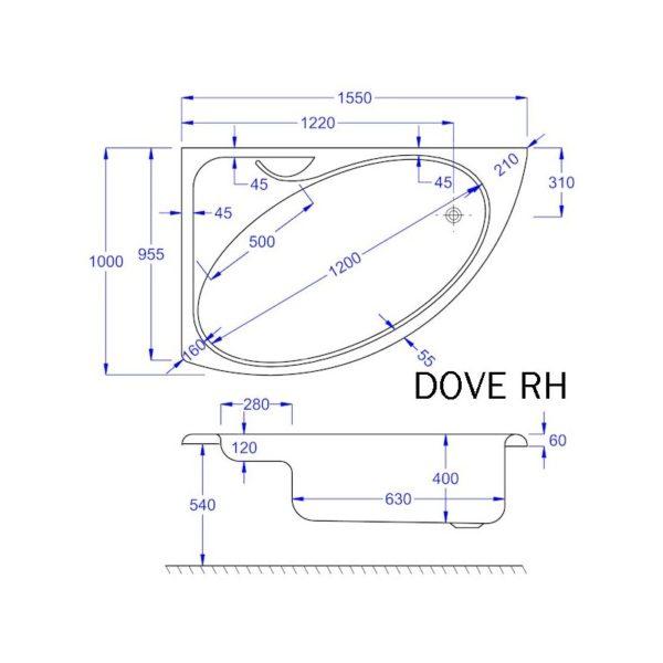 Carron Dove 1550 x 950mm Offset Corner Bath - 5mm