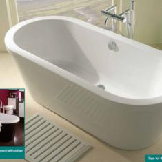 Carron Halcyon Round White Freestanding 1750 x 800 x 450mm Carronite Bath