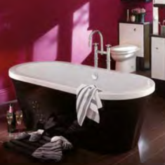 Carron Halcyon Round Black 1750 x 800 x 450mm Freestanding Carronite Bath