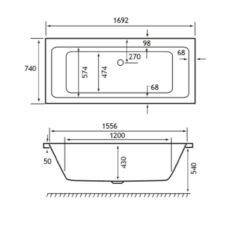 Carron Quantum Double Ended 1700 x 750 x 410mm Acrylic Bath