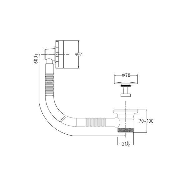 Linea Auto Pop-up Bath Waste - 600mm