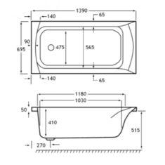 Carron Delta 1400 x 700 x 410mm Acrylic Bath