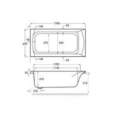 Carron Delta 1600 x 700 x 410mm Acrylic Bath