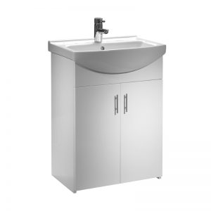 Tavistock Opal 500mm Floor Mounted Unit and 1TH Basin – Gloss White