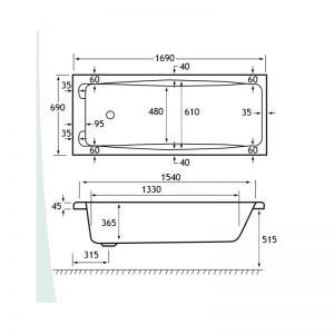 Carron Swallow Twin Grip 1700 x 700 x 365mm 2TH 5mm Bath