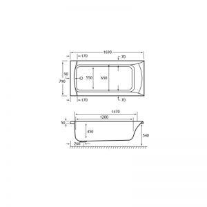 Carron Sigma 1700 x 800 x 450mm Acrylic Bath