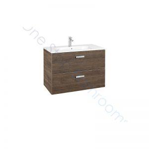 Roca Victoria Basic Unik 800mm 2 Drawer Vanity Base Unit & Basin- Textured Cedar