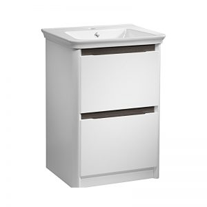 Tavistock Equate 600mm White Floorstanding Basin Unit with Grey Accent