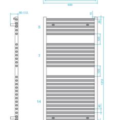 Tissino Hugo2 1212 x 600mm – High Output Towel Radiator – Anthracite