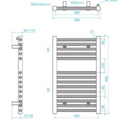 Tissino Hugo2 652 x 400mm – High Output Towel Radiator – Arabica