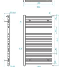 Tissino Hugo2 812 x 500mm – High Output Towel Radiator – Anthracite