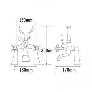 Tre Mercati Florence Pillar Bath Shower Mixer Complete with Kit