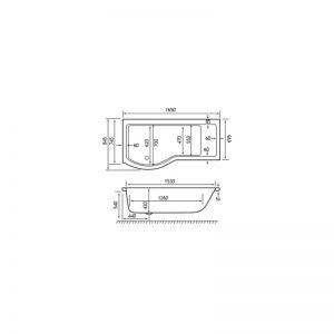 Carron Brio 1650 x 845 x 420mm Showerbath Carronite LH