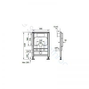 Eastbrook Concealed Cistern & Frame 1109 x 555