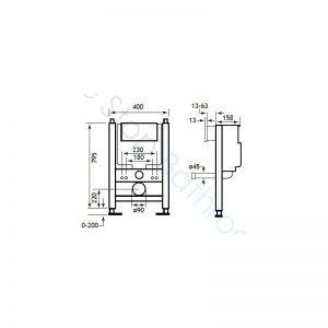Eastbrook Concealed Cistern & Frame 795 x 400
