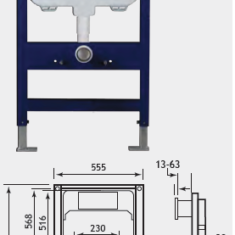 Eastbrook Concealed Cistern & Frame 1109 x 555mm Wall Hung