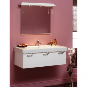 Eastbrook Sorrento 96cm Wall Hung Unit & Ceramic Basin – High Gloss White