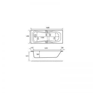Carron Ibis 1700 x 700 x 360mm Twin Grip Acrylic Bath