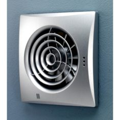 HiB Hush Matt Silver Wall Mounted Fan With Timer (31700)