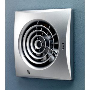 HiB Hush Matt Silver Wall Mounted Fan With Timer & Humidity Sensor (31800)