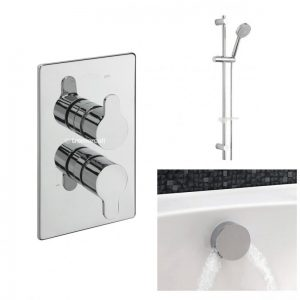 Tre Mercati Lollipop Concealed Valve with 2 way Diverter, Slide Rail Kit, Wall Outlet and Overflow Filler