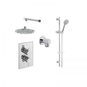 Tre Mercati Lollipop Concealed Valve with 2 way Diverter, Showerhead, Slide Rail Kit and Wall Outlet