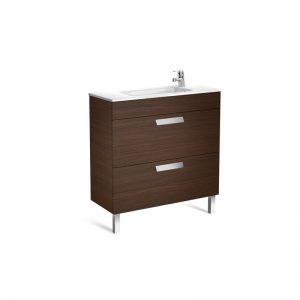 Roca Debba Unik Compact 800mm Vanity Unit and Basin – Textured Wenge