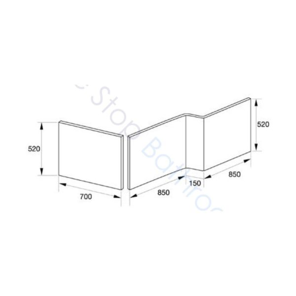Kensington L Shaped 1700mm Shower Bath with Screen and Bath Panel