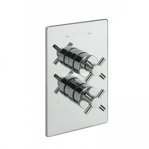 Tre Mercati Crosshead Concealed Thermostatic Shower Valve with 2 Way Diverter and Sliding Rail Kit, Wall Outlet and Bath Filler