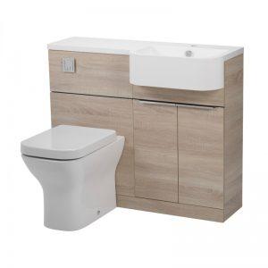 Tavistock Match Oregon Oak WC & Basin Unit & RH Isocast Basin