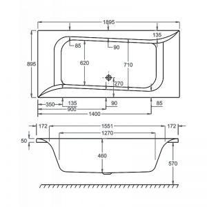 Carron Linea 1900 x 900 x 460mm Double Ended Acrylic Bath