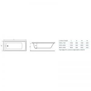 Tissino Lorenzo Single Ended Bath 1700 x 750mm – Standard