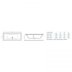 Tissino Lorenzo Double Ended Bath 1800 x 800mm – Premium