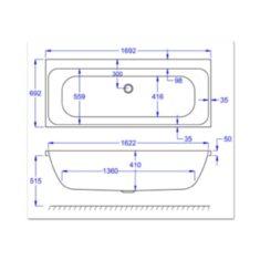 Carron Profile Duo 1700 x 700 x 410mm Acrylic Bath