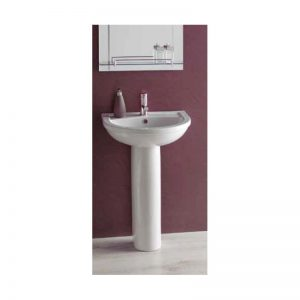 Eastbrook Dura 550mm Basin with Full Pedestal – 1TH