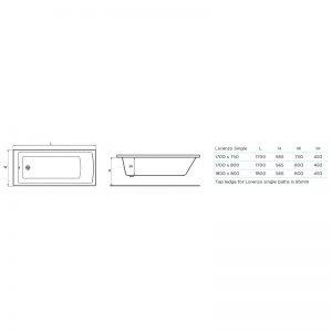 Tissino Lorenzo Single Ended Bath 1700 x 800mm – Premium