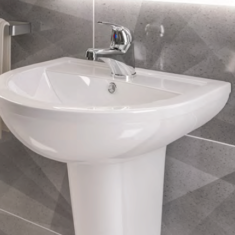 Eastbrook Dura 450mm Basin with Full Pedestal – 1TH or 2TH