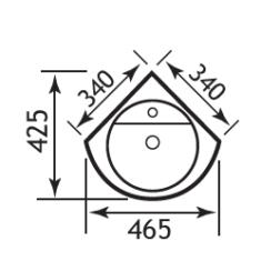 Eastbrook Dura 460mm Corner Basin – 1TH