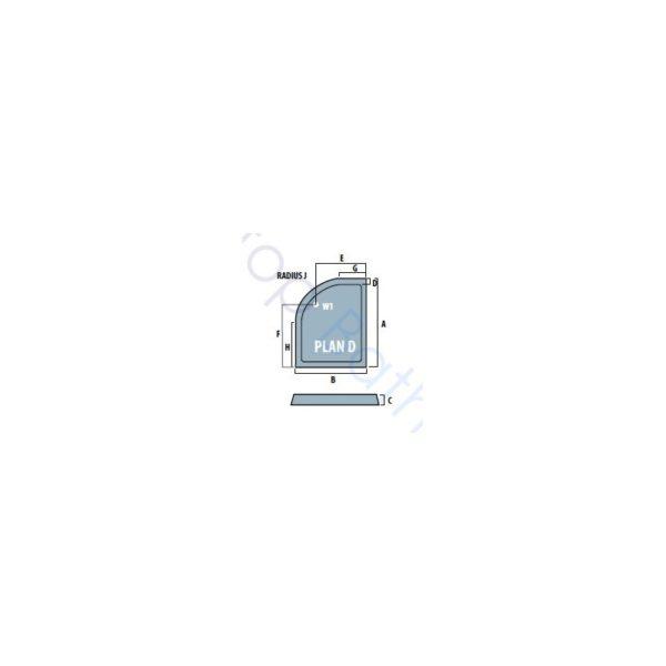 Eastbrook Volente Offset Quadrant Shower Tray - 900 x 700mm