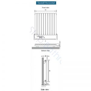 Eastbrook Tunstall Towel Rail  800 x 600mm Matt White