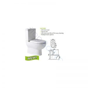 Eastbrook Dura BTW Close Coupled Pan, Cistern & Soft Close Seat