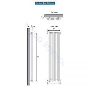 Eastbrook Rivassa 2 Column Radiator 1800 x 473mm – White