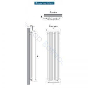 Eastbrook Rivassa 2 Column Radiator 1800 x 383mm – Matt Anthracite