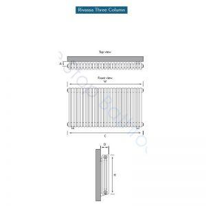 Eastbrook Rivassa 3 Column Radiator 1800 x 383mm – White