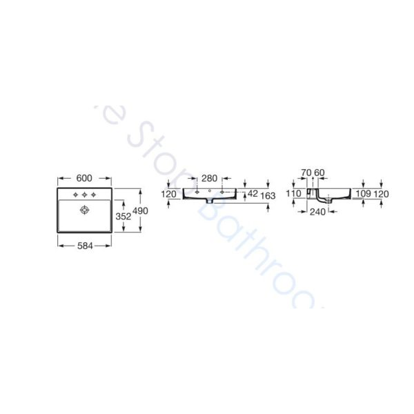 Roca Inspira 600 x 498mm 2 Drawer Wall Hung Base Unit and Fine Ceramic Basin